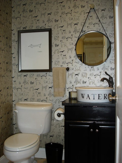 Eclectic Powder Room by Studio C Interiors
