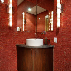 Contemporary Powder Room by Interiors by Design, Ltd.