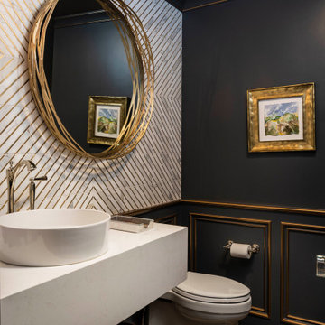 Sophisticated Navy and Gold Powder Bath Renovation