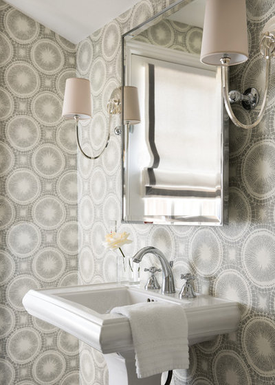 Transitional Powder Room by Kriste Michelini Interiors