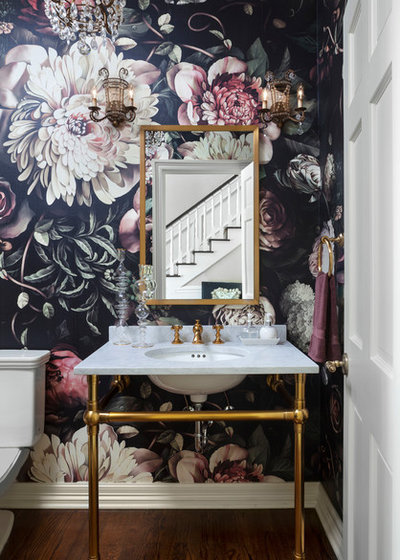 Transitional Powder Room by Duet Design Group