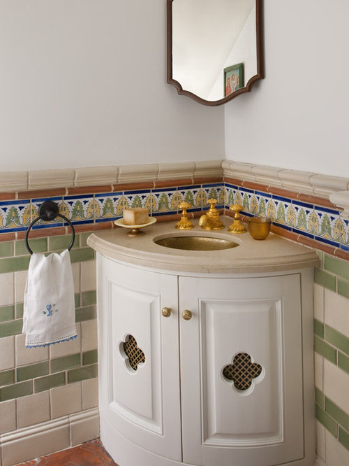 Small Tuscan Terra Cotta Floor Powder Room Photo In Dallas With An  Undermount Sink,