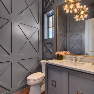 Example of a large transitional medium tone wood floor powder room design in Austin with gray cabinets, a two-piece toilet, gray walls, an undermount sink, marble countertops and furniture-like cabinets