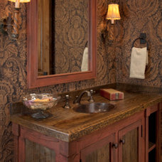 Rustic Powder Room by Elizabeth Robb Interiors