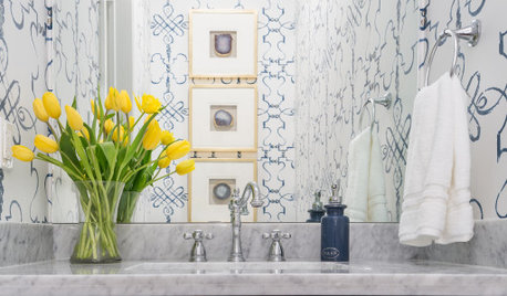 8 Beautiful Blue Powder Rooms From Spring 2020's Top Photos