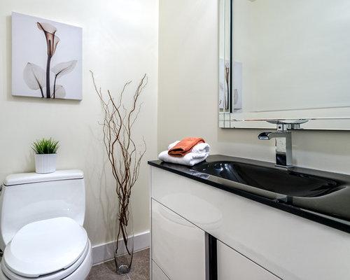 Photos et id es d co de wc et toilettes avec un wc s par for Meuble wc montreal