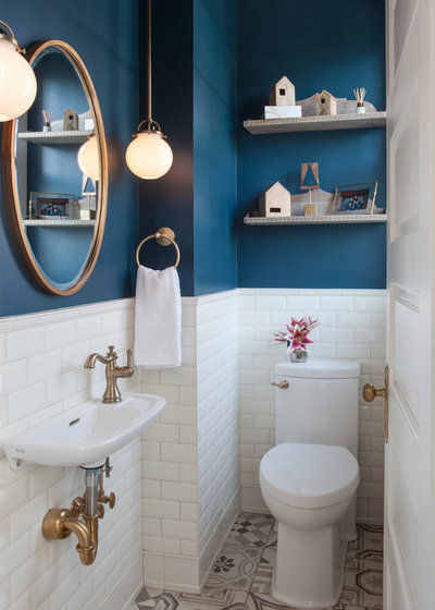 Transitional Powder Room by TreHus Architects+Interior Designers+Builders