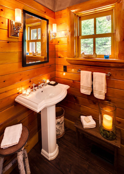 Rustic Powder Room by Wade Weissmann Architecture
