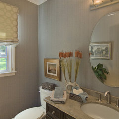 contemporary powder room by StarrMiller Interior Design, Inc.
