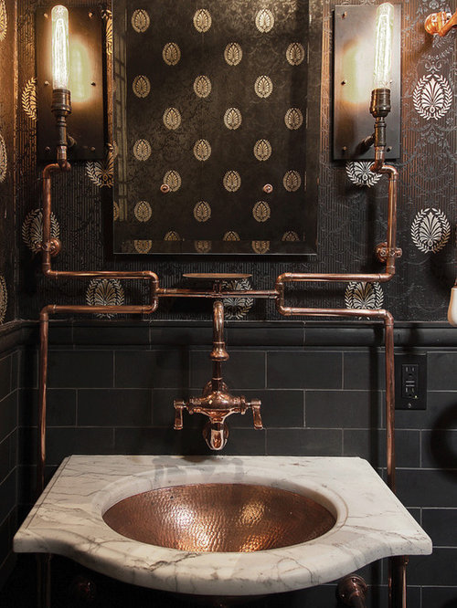 Great Inspiration For An Eclectic Powder Room Remodel In San Francisco With An  Undermount Sink