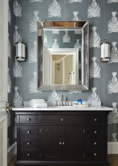 Tropical Powder Room by JMA INTERIOR DESIGN