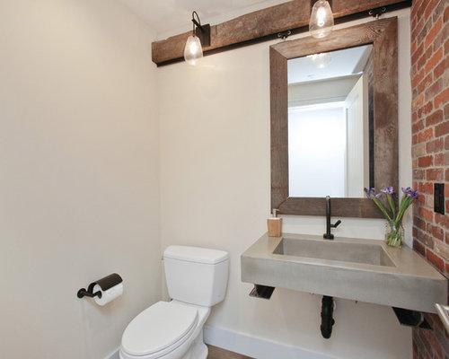 Gästetoilette & Gäste-WC mit Beton-Waschtisch im ...