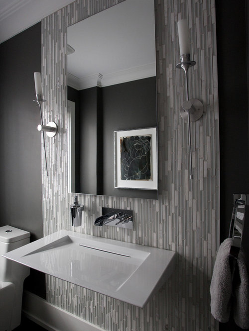 example of a large minimalist gray tile and matchstick tile dark wood floor powder room design - Matchstick Tile Bedroom Decor