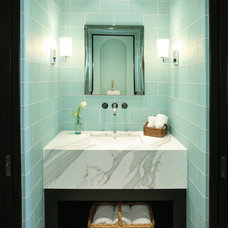 Mediterranean Powder Room by Jon Eric Christner ARCHITECT INC.