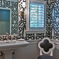 Transitional Powder Room by The Black Door