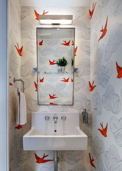Transitional Powder Room by BFDO Architects pllc