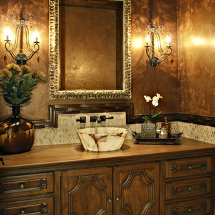 Inspiration for a timeless powder room remodel in Phoenix with a vessel sink