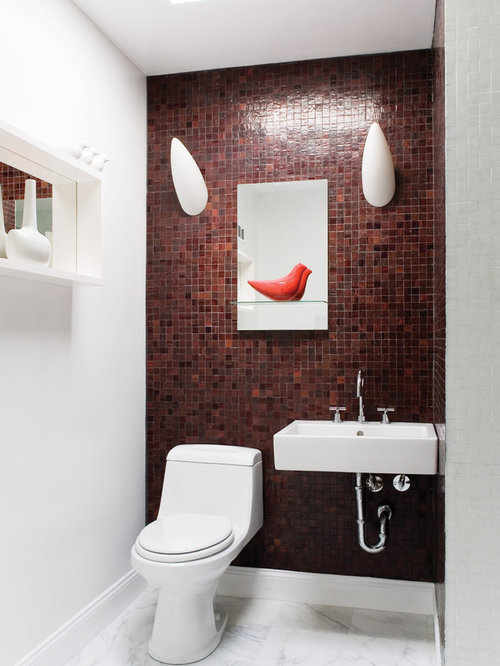 Powder room tile houzz for Carrelage wow