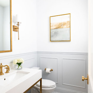 Transitional powder room photo in Miami