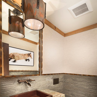 Design ideas for a small rustic cloakroom in Sacramento with open cabinets, a wall mounted toilet, grey tiles, beige walls, a vessel sink, distressed cabinets, stone tiles, granite worktops, slate flooring and grey worktops.