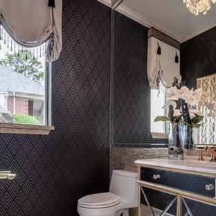 Свежая идея для дизайна: маленький туалет в современном стиле с фасадами островного типа, унитазом-моноблоком, желтой плиткой, стеклянной плиткой, черными стенами, полом из керамогранита, врезной раковиной, мраморной столешницей и белым полом - отличное фото интерьера