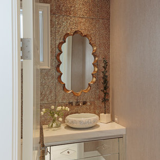 Small beach style cloakroom in Other with freestanding cabinets, multi-coloured tiles, metal tiles, multi-coloured walls, marble flooring, a vessel sink, granite worktops and multi-coloured floors.