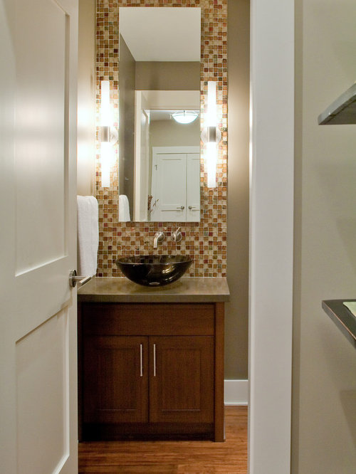 Superieur Powder Room   Mid Sized Contemporary Brown Tile And Mosaic Tile Medium Tone  Wood Floor