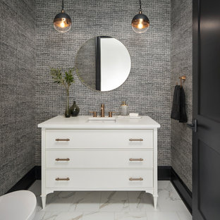 75 Beautiful Wallpaper Powder Room Pictures Ideas April 2021 Houzz