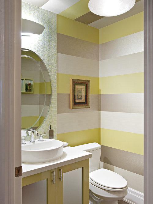 Metallic striped wallpaper houzz for Striped kitchen wallpaper
