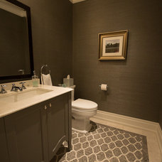 Transitional Powder Room by Raphael Gomes Interiors
