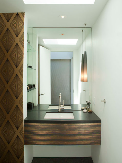 Example Of A Trendy Dark Wood Floor Powder Room Design In San Diego With An  Undermount