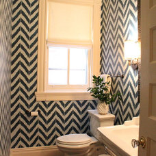 Transitional Powder Room by Kelly Brown Interiors
