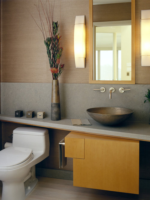 inspiration for a contemporary powder room remodel in san francisco with a vessel sink - Contemporary Color Scheme