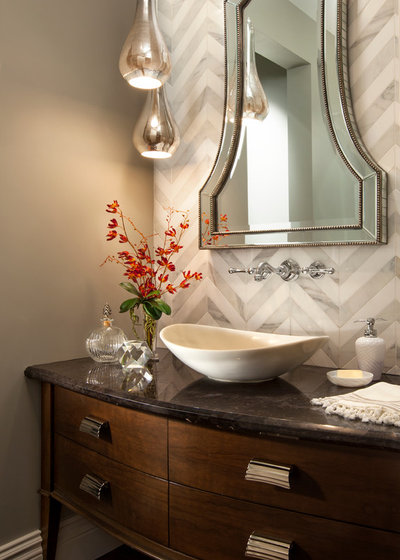 Transitional Powder Room by Robeson Design. Bathroom Workbook  The Right Height for Your Sinks  Mirrors and More