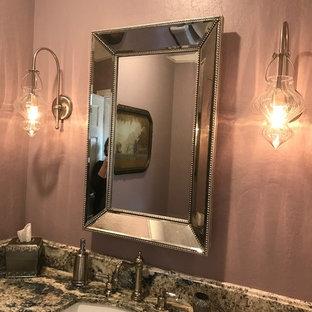 Удачное сочетание для дизайна помещения: туалет среднего размера в стиле современная классика с фиолетовыми стенами, врезной раковиной и столешницей из гранита - самое интересное для вас