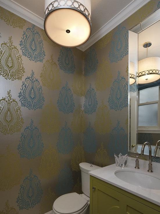SaveEmail - Wallpaper Powder Room Houzz