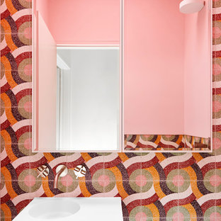 Inspiration for a midcentury powder room in Melbourne.