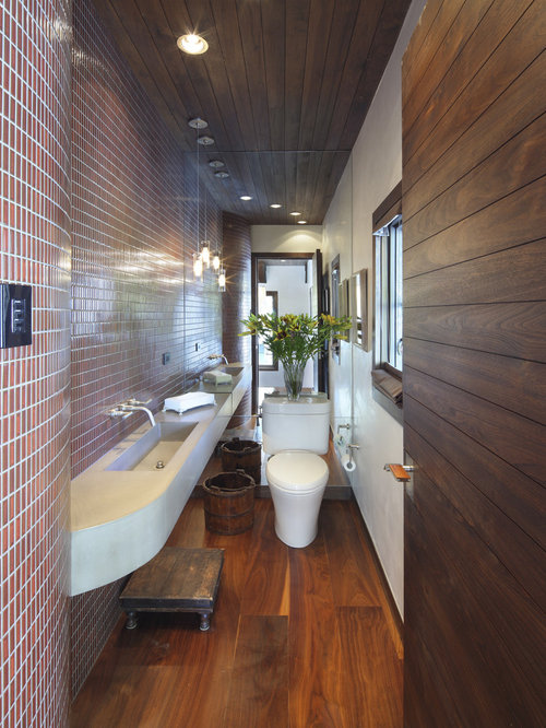 Trendy Powder Room Photo In Denver With An Integrated Sink