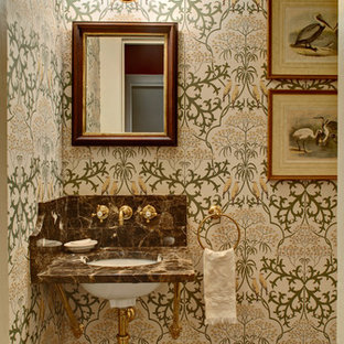 Example of a classic powder room design in New York