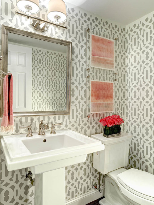 Wallpaper powder room ideas pictures remodel and decor - Powder room sink ideas ...