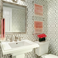 transitional powder room by traci zeller designs
