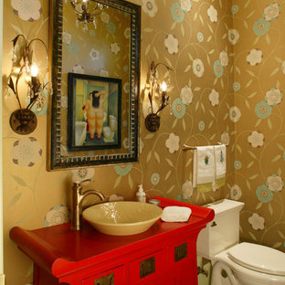 Inspiration for a bohemian cloakroom in Jacksonville with freestanding cabinets, red cabinets, slate flooring, a vessel sink and wooden worktops.
