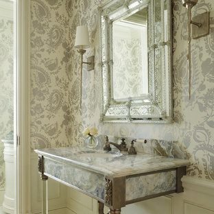 Inspiration for a classic cloakroom in Miami with a submerged sink, beige tiles, multi-coloured walls and multi-coloured worktops.
