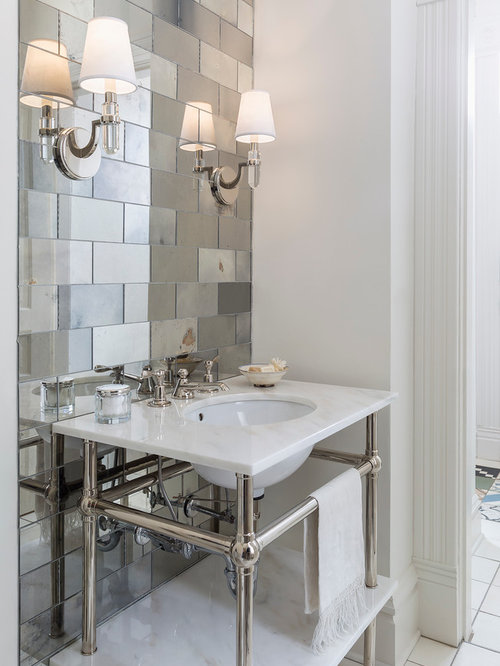 Cloakroom Design Ideas Renovations Amp Photos With Mirror Tiles