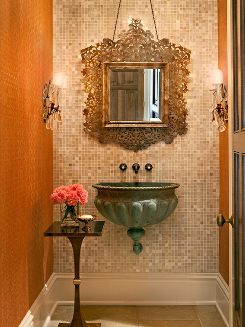 Nice Traditional Mosaic Tile Powder Room Idea In Nashville With A Wall Mount Sink