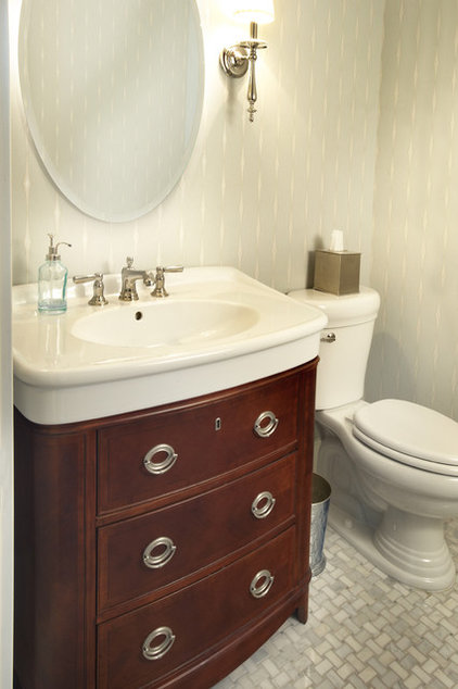 Farmhouse Powder Room by Kristin Petro Interiors, Inc.