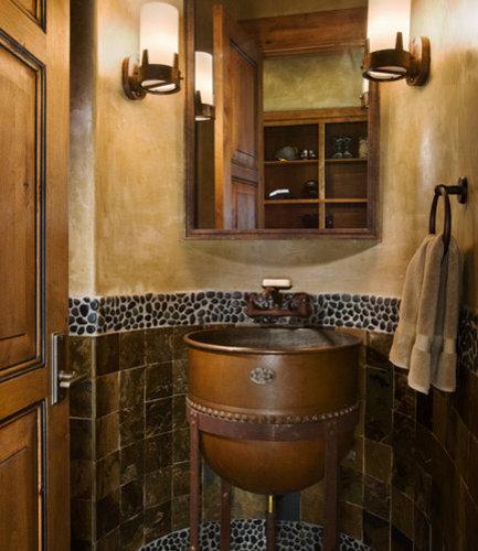Double basin powder room design ideas renovations photos - Robinet bulthaup ...