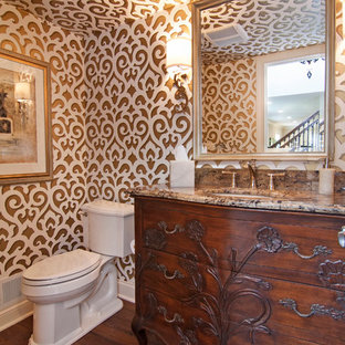 Example Of A Classic Powder Room Design In Minneapolis With Granite  Countertops