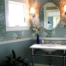 Transitional Powder Room by HC Design