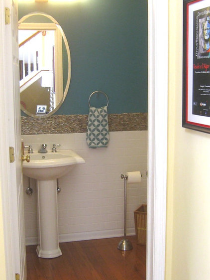 Transitional Powder Room by Your Favorite Room By Cathy Zaeske